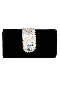 Favola Beautiful Black Velvet Pearl and Crystal Embellished Box Clutch bag