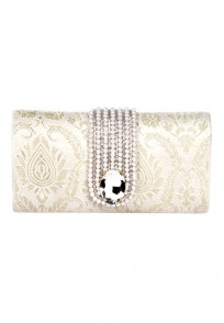 Favola Beautiful Crystal Embellished Gold and Beige Box Clutch Bag