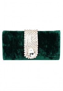 Favola Beautiful Green Velvet Pearl and Crystal Embellished Box Clutch bag
