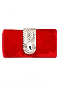 Favola Beautiful Red Velvet Pearl and Crystal Embellished Box Clutch bag