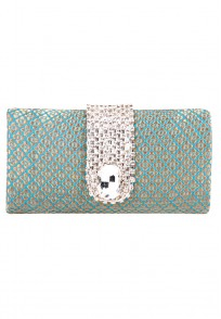 Favola Beautiful Sea Green Silk Brocade Crystal Embellished Box Clutch Bag