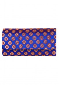Favola Beautiful Silk Brocade Blue Flap Box Clutch Bag