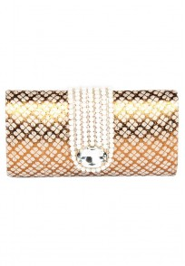 Favola Designer Pearl And Crystal Embellished Gold and Beige Box Clutch Bag