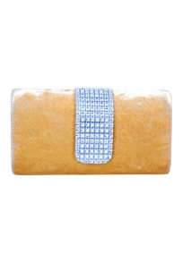 Favola Designer Yellow Velvet Crystal Embellished Box Clutch Bag