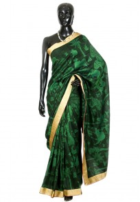 Jullaaha Black & Green Raw Silk Saree