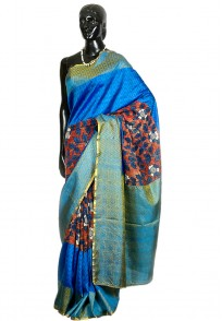 Jullaaha Blue Kanchipuram Soft Silk Saree
