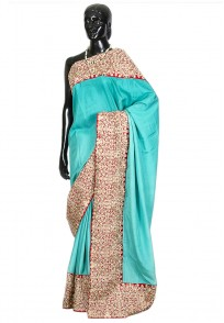 Jullaaha Green Raw Silk Saree