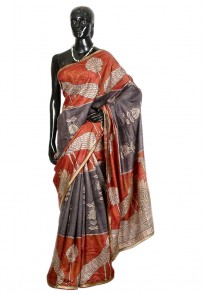 Jullaaha Grey & Red Tussar Silk Saree
