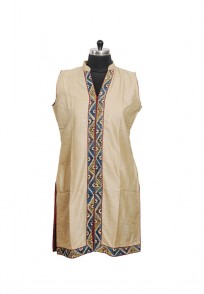 Jullaaha Women Brown Soft Silk Kurti