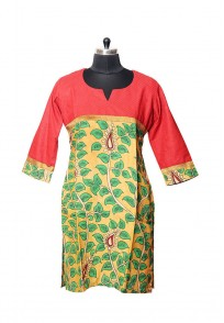 Jullaaha Women Red Soft Silk Kurti