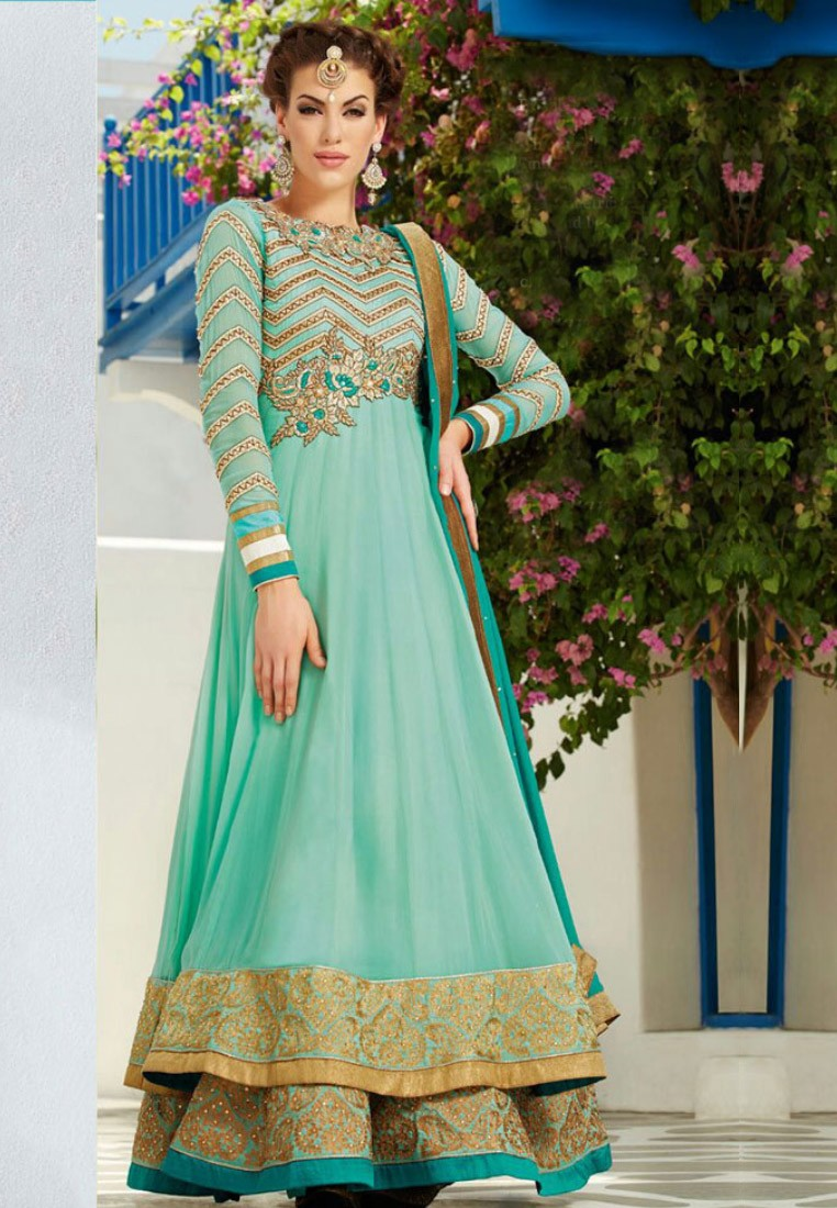 Blue Floor Length Anarkali Suit Footwear Jewellery