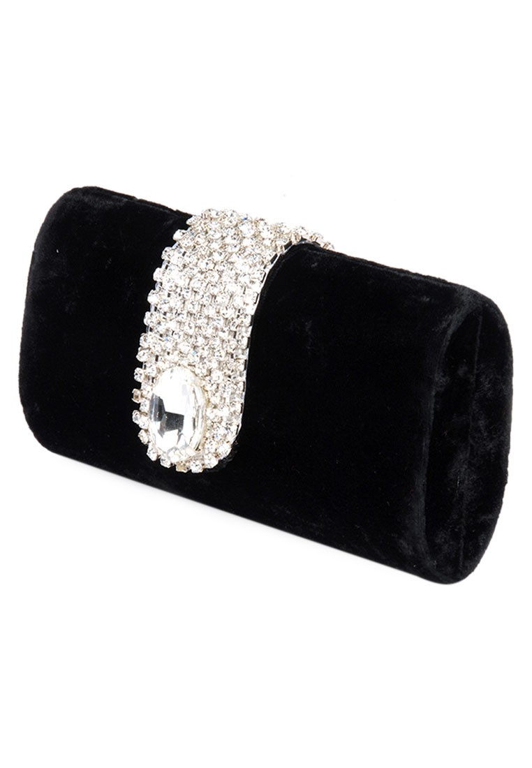 cc229ce00478 ... Favola Beautiful Black Velvet Pearl and Crystal Embellished Box Clutch  bag ...