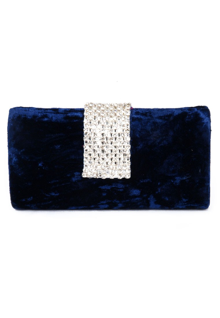 Favola Beautiful Blue Velvet Pearl and Crystal Embellished Box Clutch bag