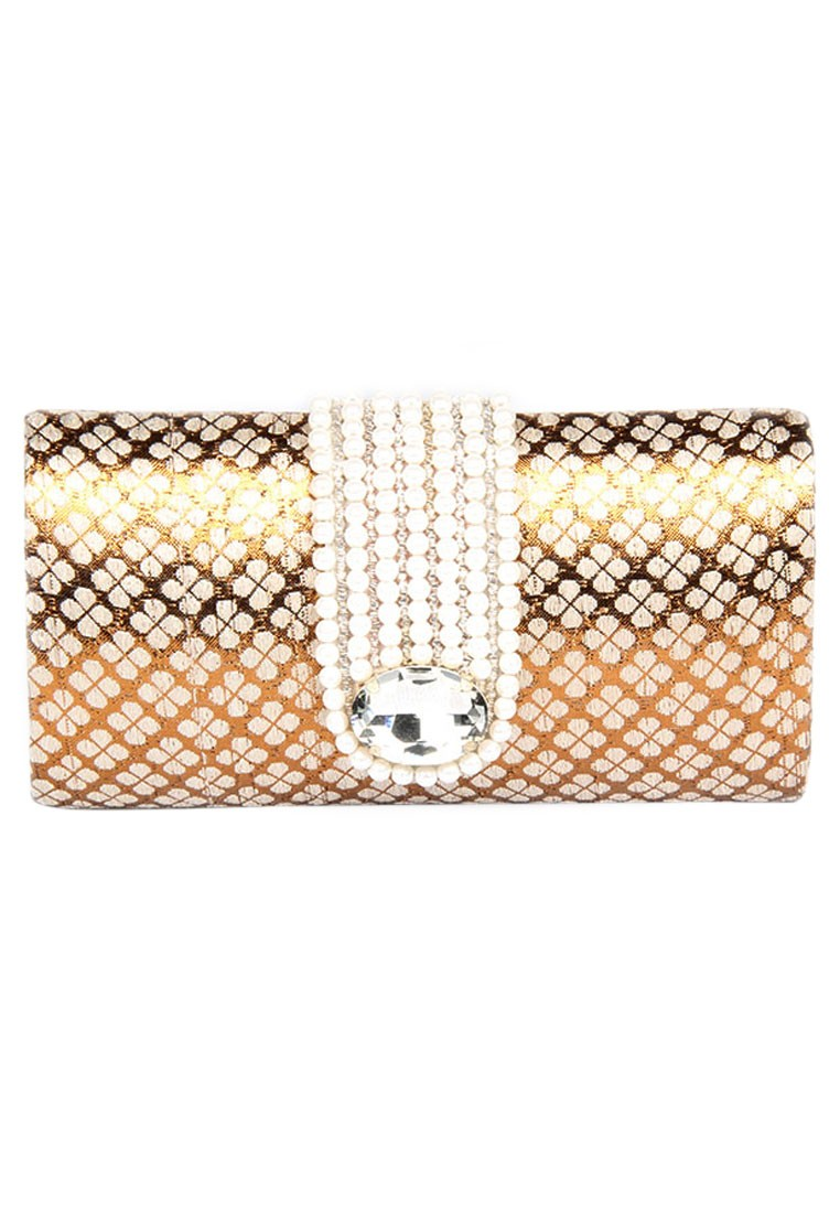 a830ea6636b6a ... Favola Designer Pearl And Crystal Embellished Gold and Beige Box Clutch  Bag ...