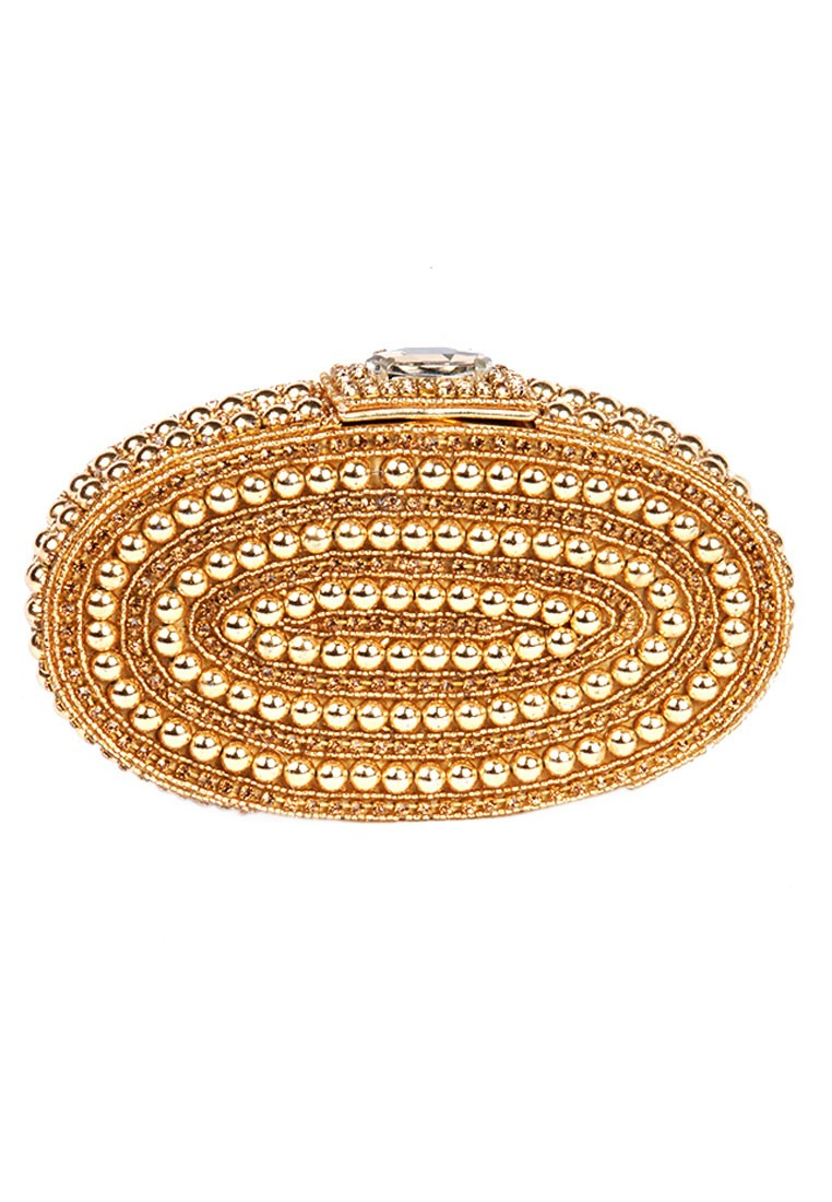 Favola Pearl Embellished Designer Gold Box Clutch Bag