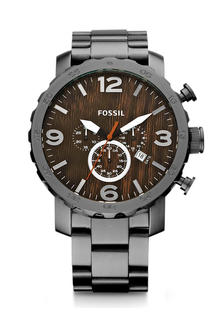 Fossil nate collection stainless steel chronograph smoke color men watch footwear jewellery for Stainless steel watch