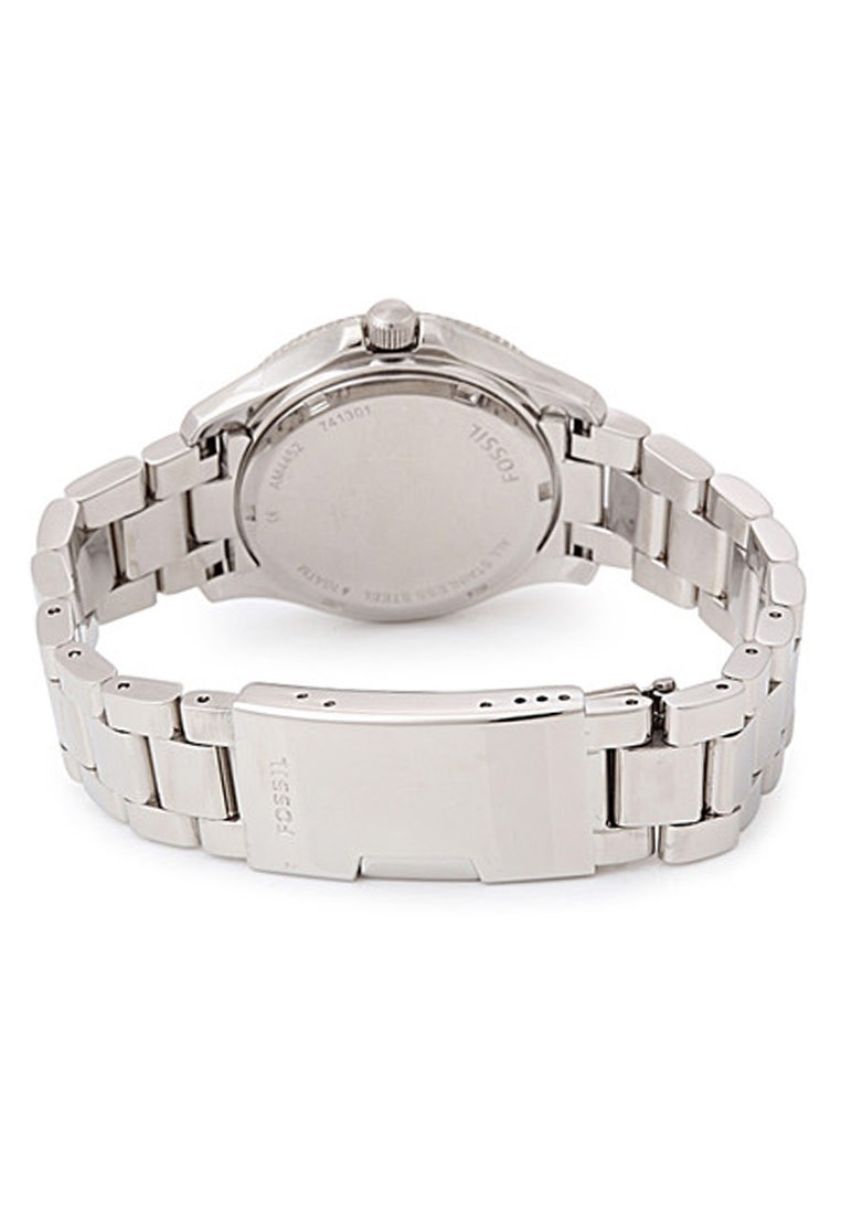 Fossil Retro Trav Silver Strap Round Dial Analog Watch For Women