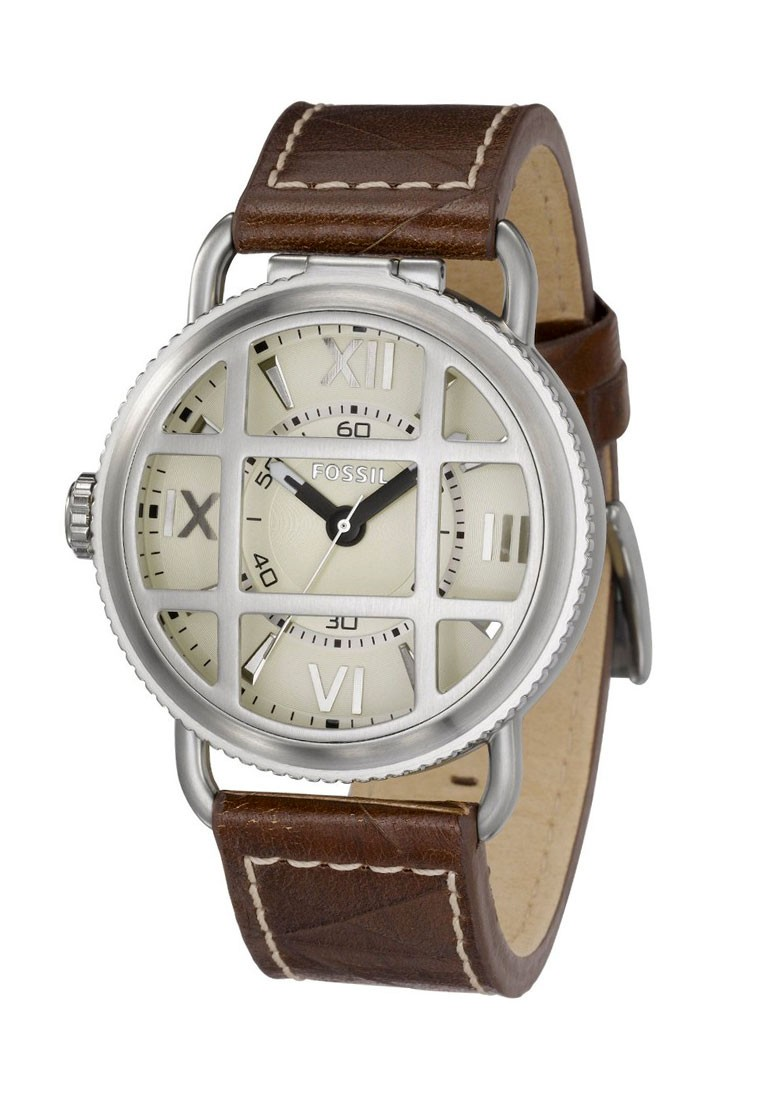 Fossil Stainless Steel Leather Strap Brown Men Watch ...
