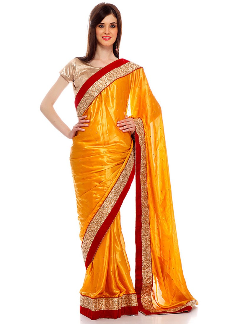 4947e889fdbc3a Ishi Maya Mustard and Golden Party wear Saree - Footwear