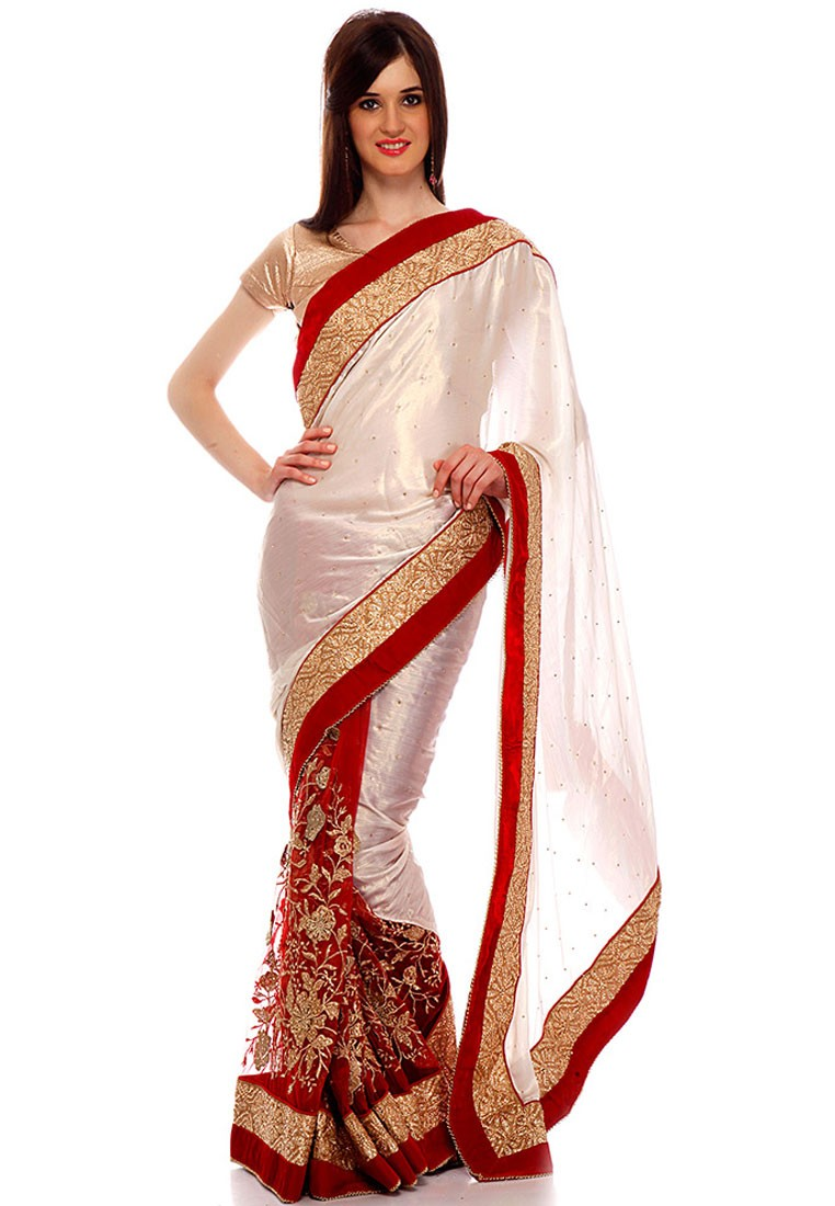 Ishi Maya White And Red Party Wear Net Saree - Footwear Jewellery Watches U0026 Sunglasses Bags ...
