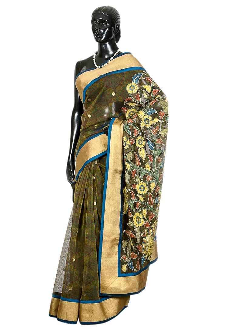 Jullaaha Green Net Designer Saree