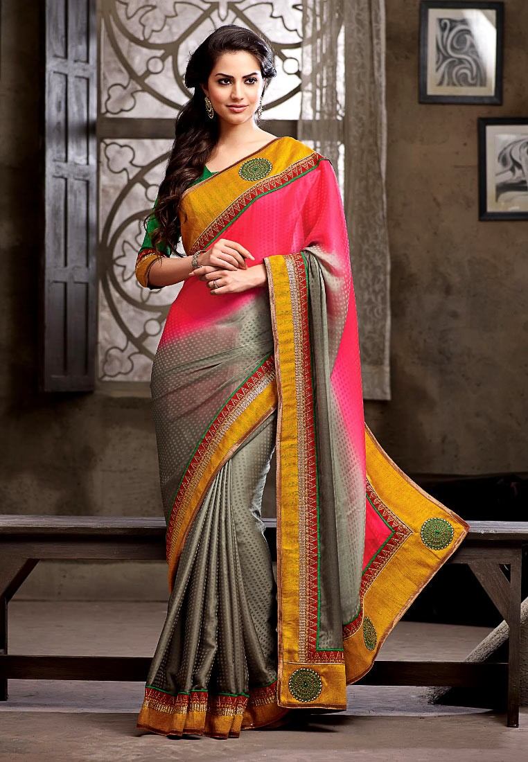 Pothys Grey And Pink Georgette Designer Saree Footwear