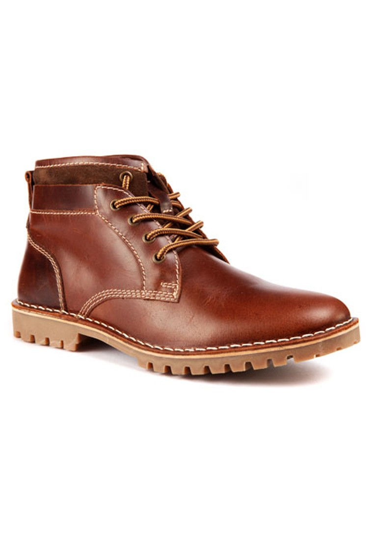 Red Tape Men Tan Leather Boots