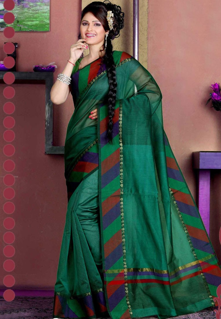 Sellers Green Manipuri Silk Saree with Stripes