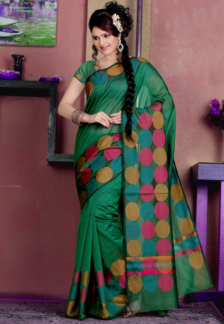 Sellers Green Manipuri Silk Saree