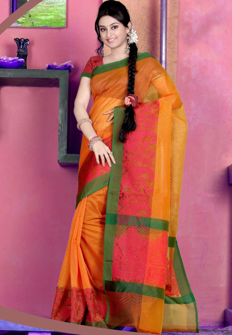Sellers Orange Manipuri Kota Silk Saree