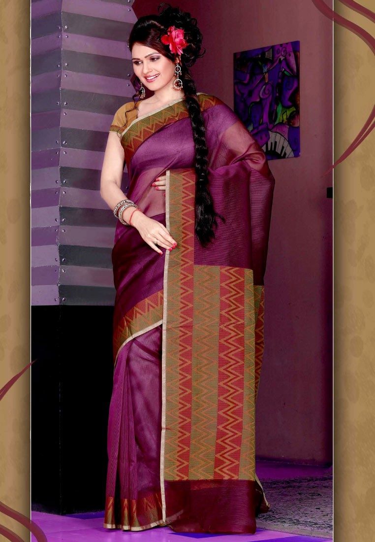 Sellers Purple Manipuri Silk Saree