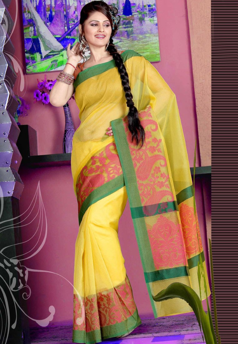 Sellers Yellow Manipuri Silk Saree