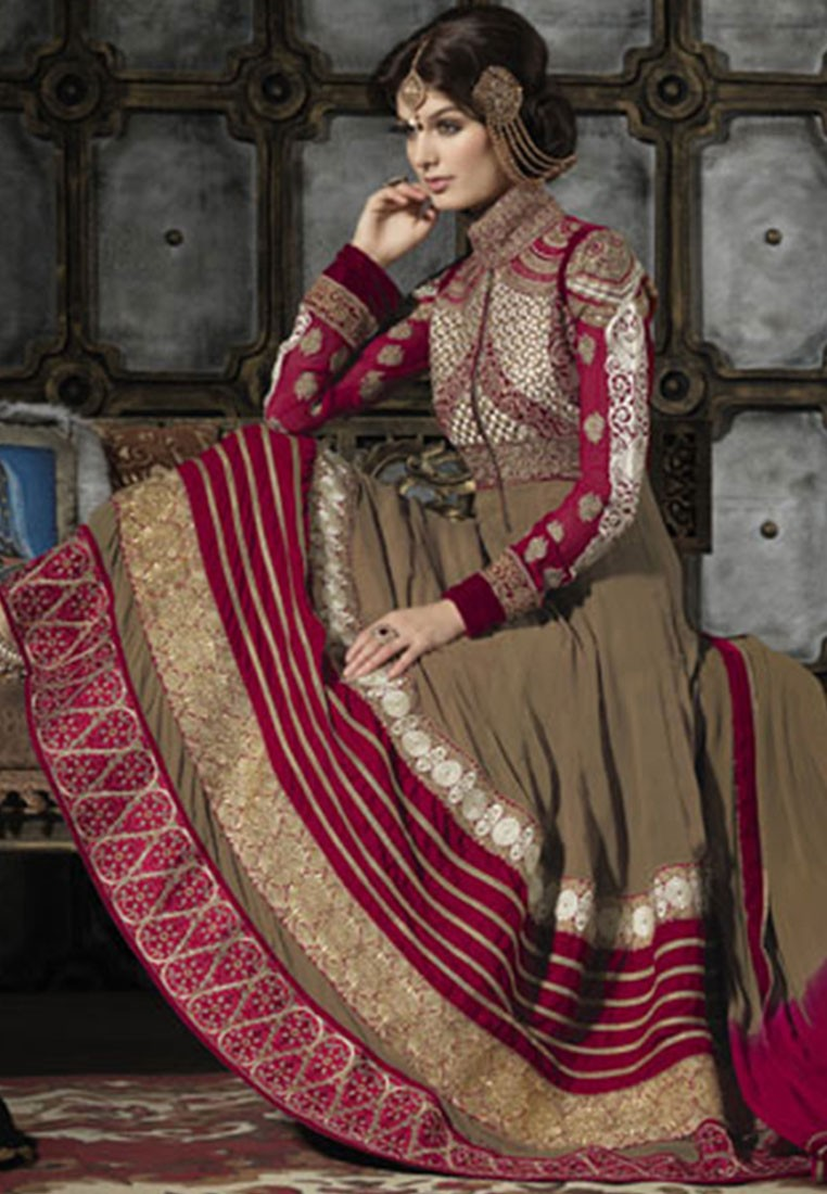 Ishi Maya Brown Georgette Anarkali Suit Footwear