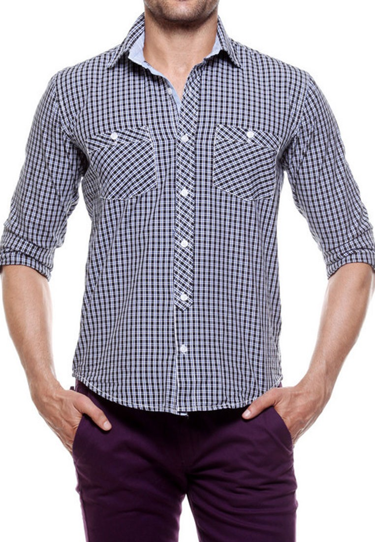 Tog classic black and white casual cotton check shirt for Black and white checker shirt