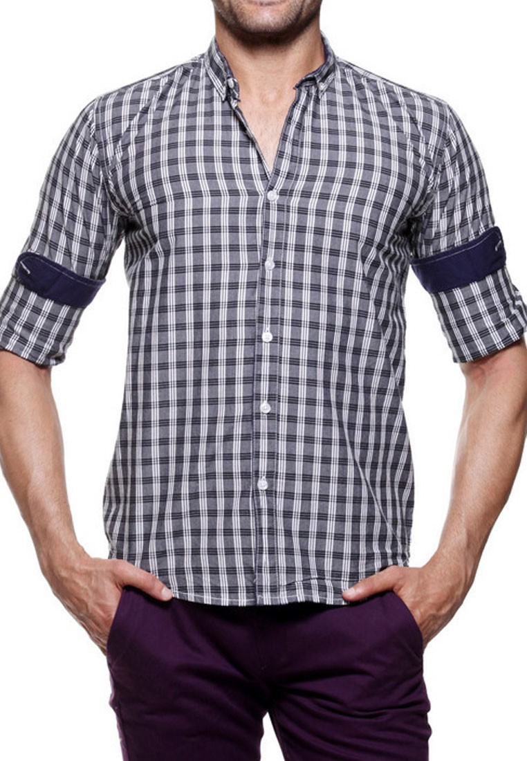 Tog Men Black And White Casual Check Shirt Tmss 129 K