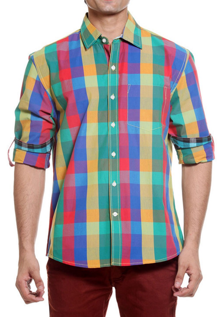 Tog Men Bright Multi Color Casual Cotton Shirt Tmss113a