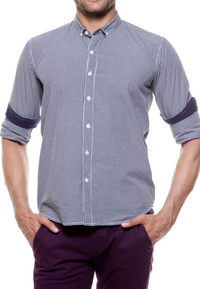 Tog men navy blue and white casual check shirt tmss 129 j for Navy blue shirt online