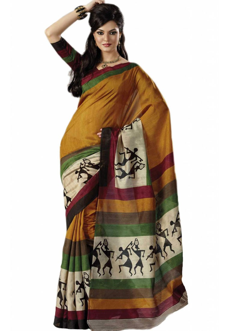 Vastram Silk Brown Art Silk Saree With Warli Printed