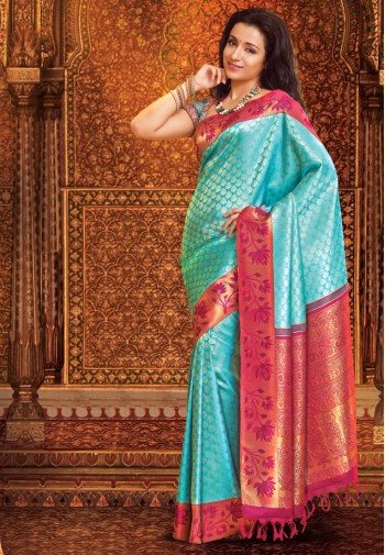 Pothys Blue and Purple Samuthirika Silk Saree Footwear