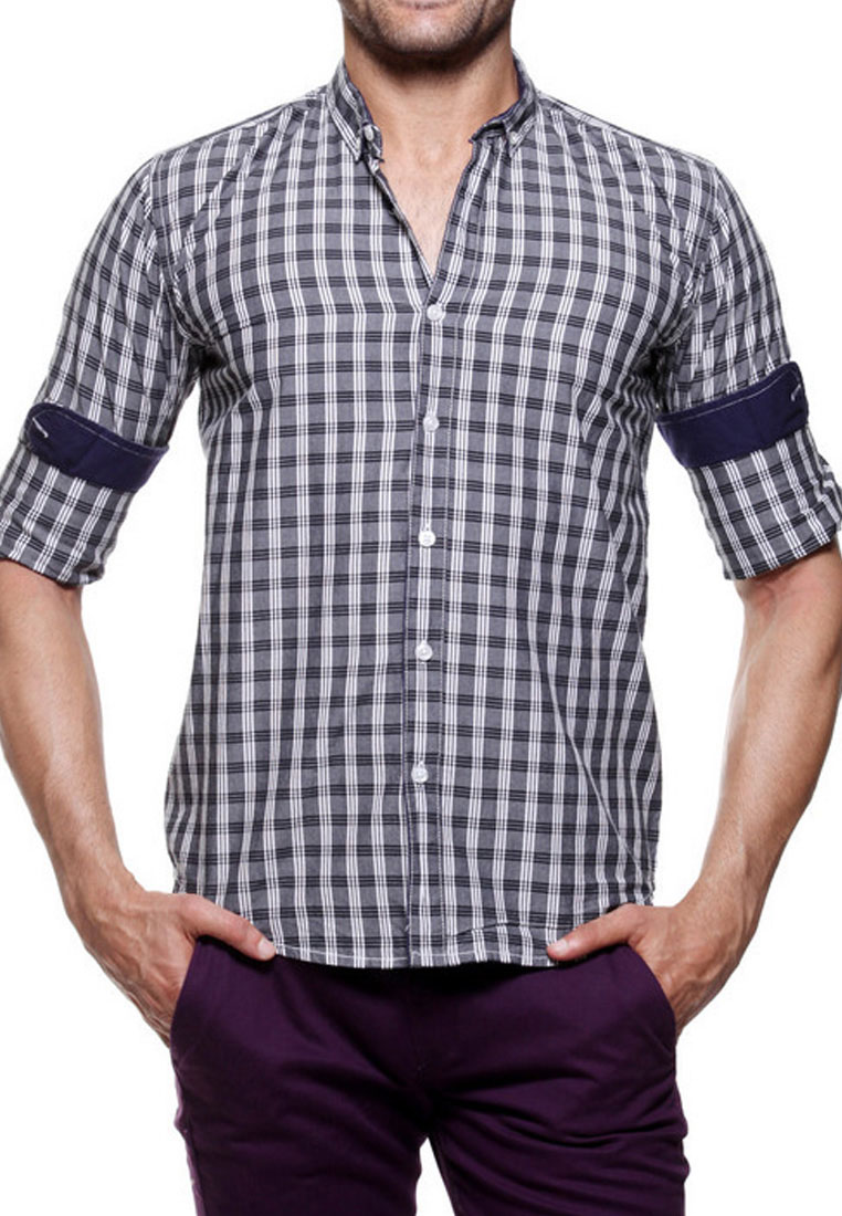 Tog men black and white casual check shirt tmss 129 k for Black and white checker shirt